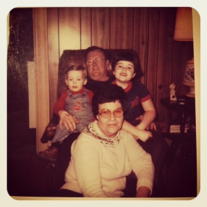 Me and my grandparents circa 1982. I think.